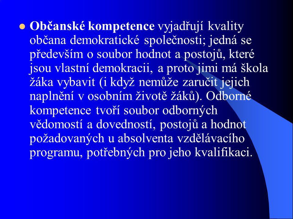 Občanské kompetence vyjadřují kvality občana demokratické společnosti; jedná se především o soubor hodnot a postojů, které jsou vlastní demokracii, a proto jimi má škola žáka vybavit (i když nemůže zaručit jejich naplnění v osobním životě žáků).