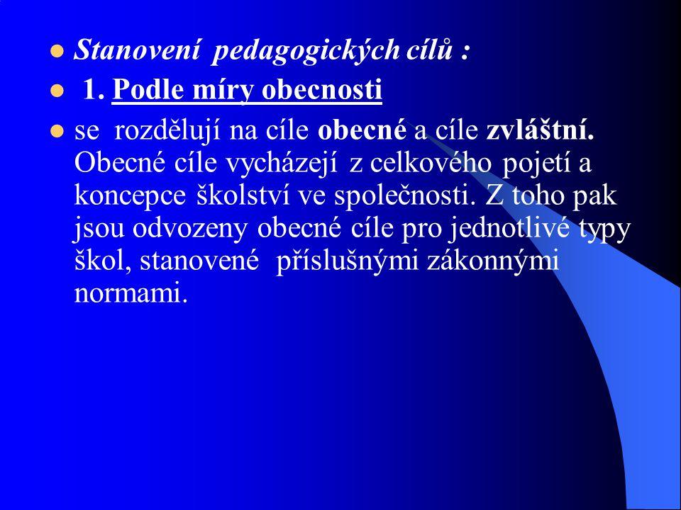 Stanovení pedagogických cílů :