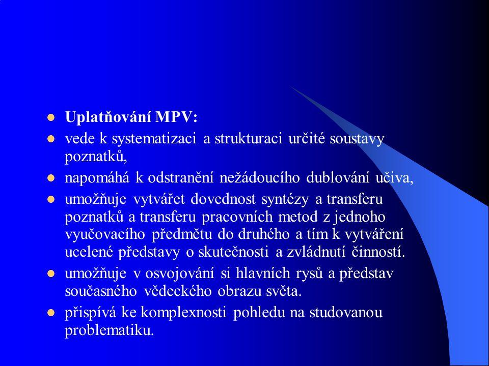 Uplatňování MPV: vede k systematizaci a strukturaci určité soustavy poznatků, napomáhá k odstranění nežádoucího dublování učiva,