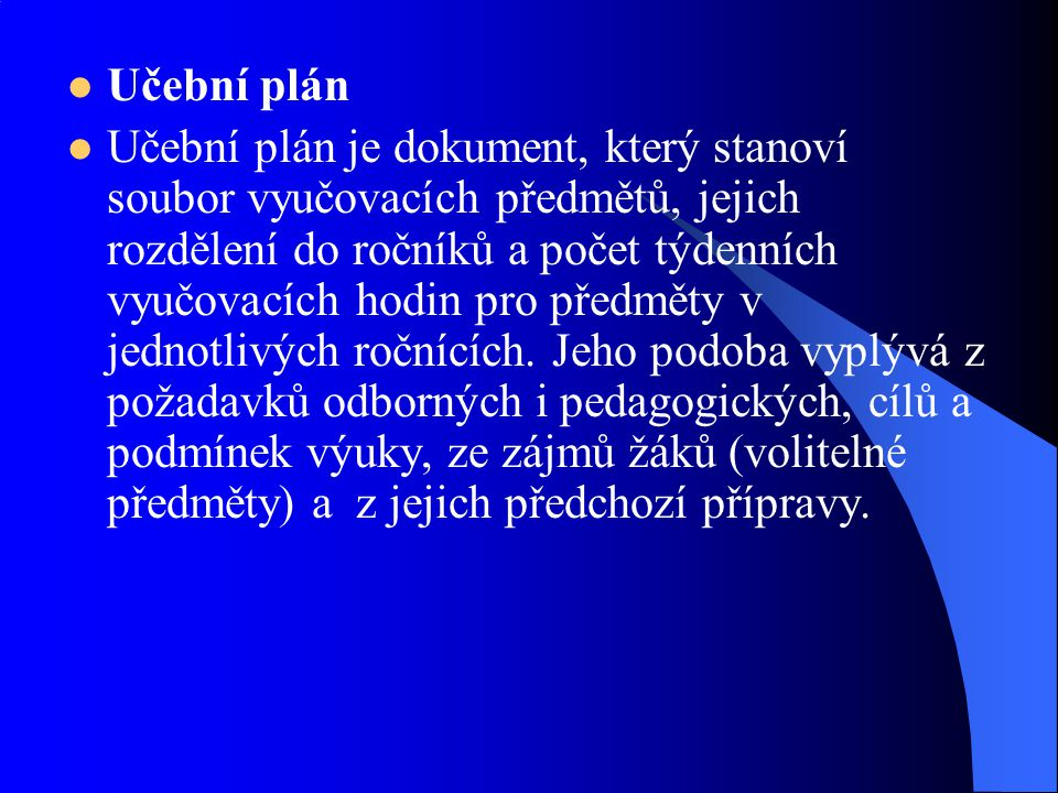 Učební plán