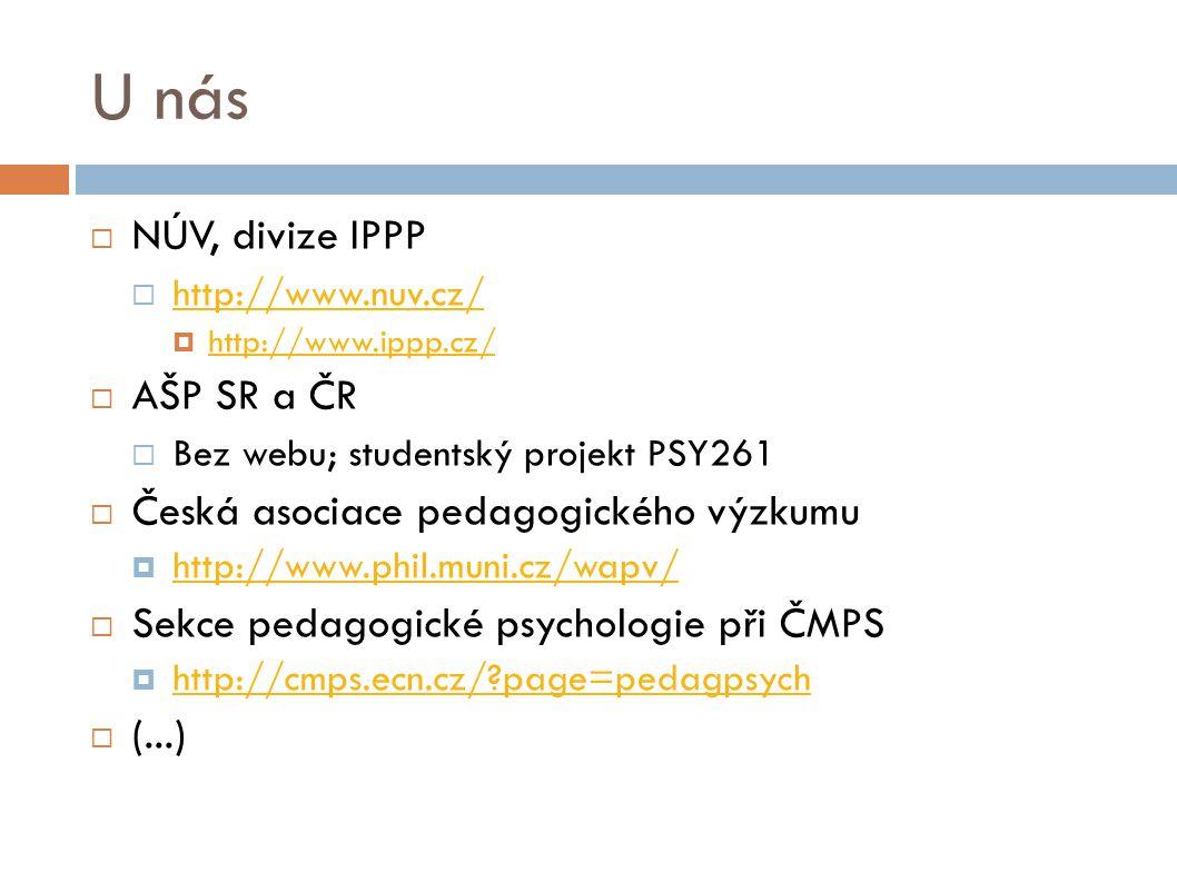 U nás NÚV, divize IPPP AŠP SR a ČR