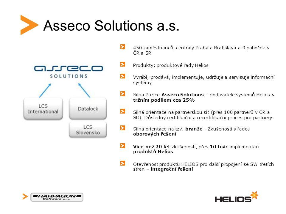 Asseco Solutions a.s. 450 zaměstnanců, centrály Praha a Bratislava a 9 poboček v ČR a SR. Produkty: produktové řady Helios.