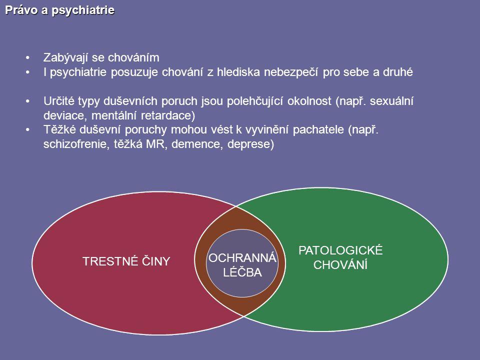 Právo a psychiatrie Zabývají se chováním. I psychiatrie posuzuje chování z hlediska nebezpečí pro sebe a druhé.