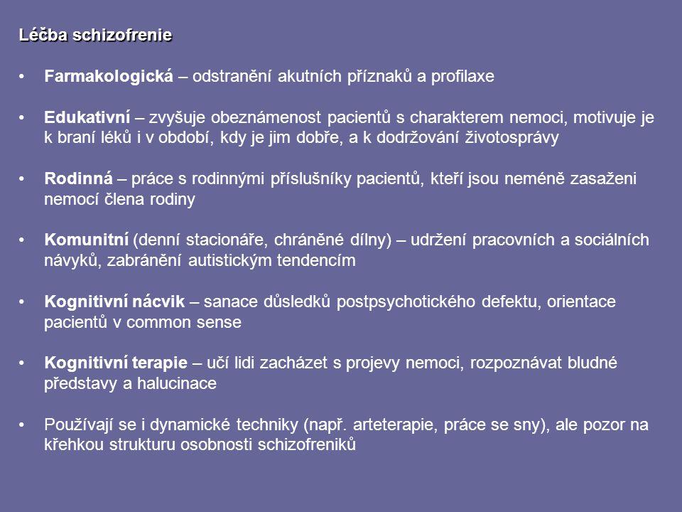 Léčba schizofrenie Farmakologická – odstranění akutních příznaků a profilaxe.