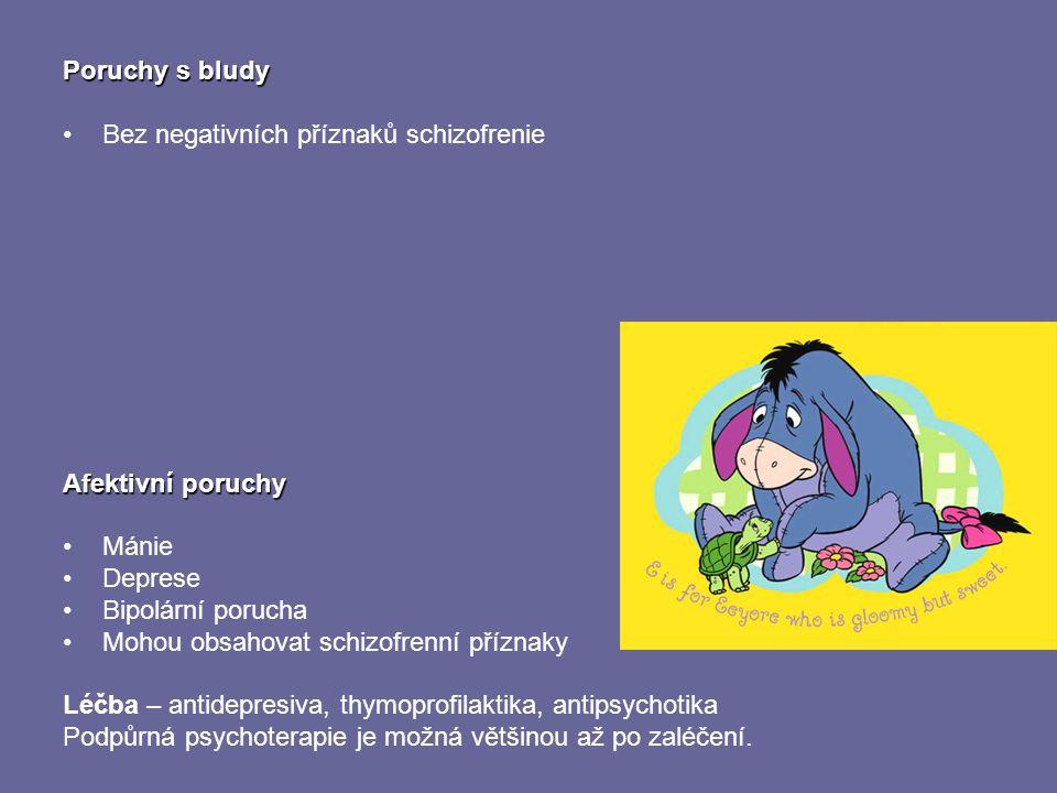 Poruchy s bludy Bez negativních příznaků schizofrenie. Afektivní poruchy. Mánie. Deprese. Bipolární porucha.