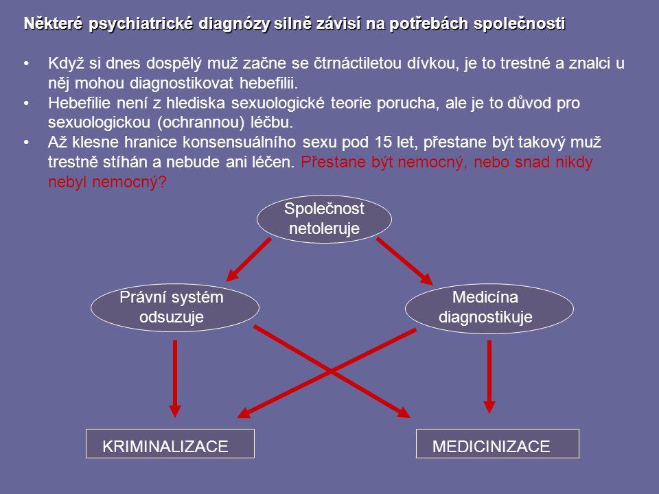 Některé psychiatrické diagnózy silně závisí na potřebách společnosti