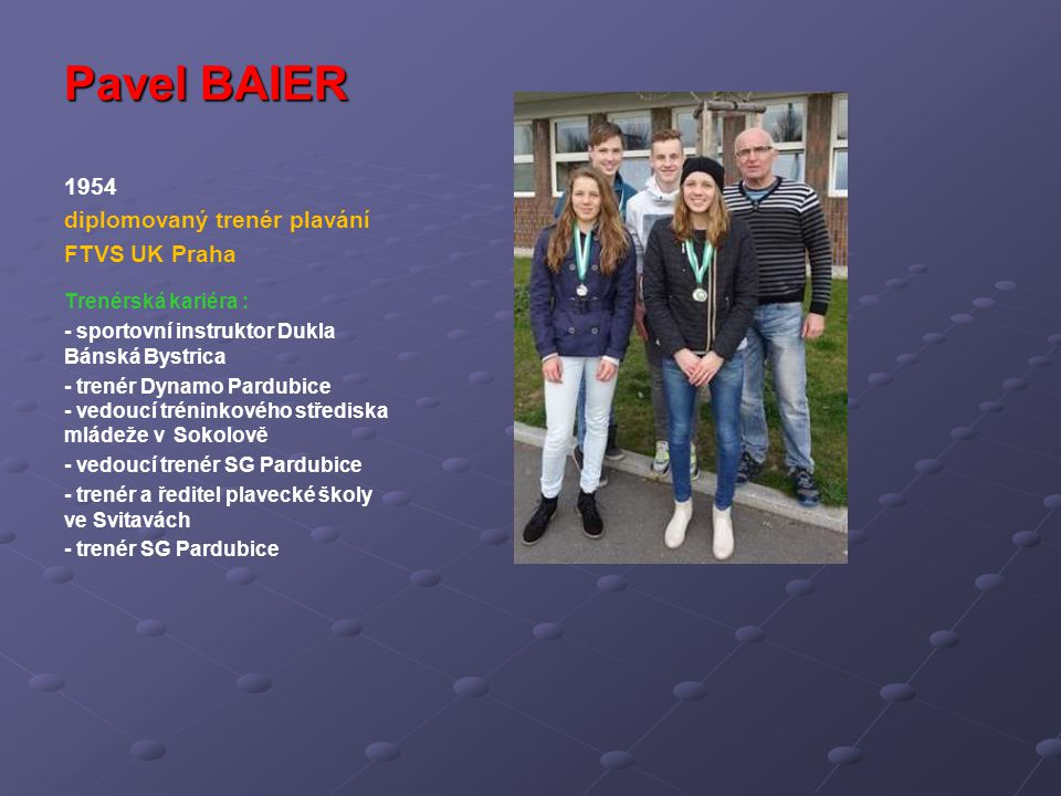 Pavel BAIER 1954 diplomovaný trenér plavání FTVS UK Praha