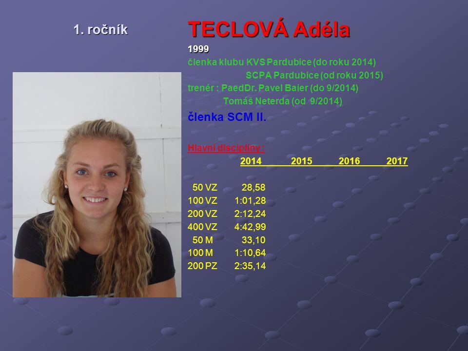 TECLOVÁ Adéla 1. ročník členka SCM II. 1999