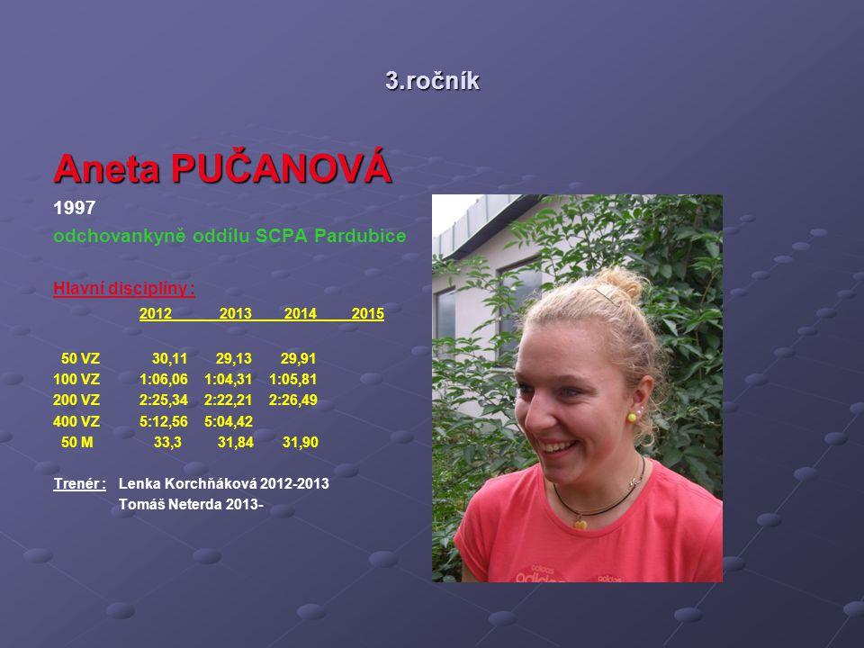 Aneta PUČANOVÁ 3.ročník 1997 odchovankyně oddílu SCPA Pardubice