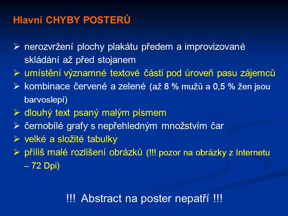 !!! Abstract na poster nepatří !!!
