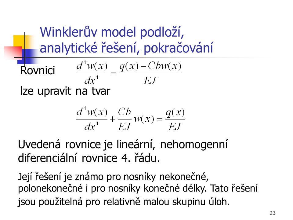 Winklerův model podloží, analytické řešení, pokračování