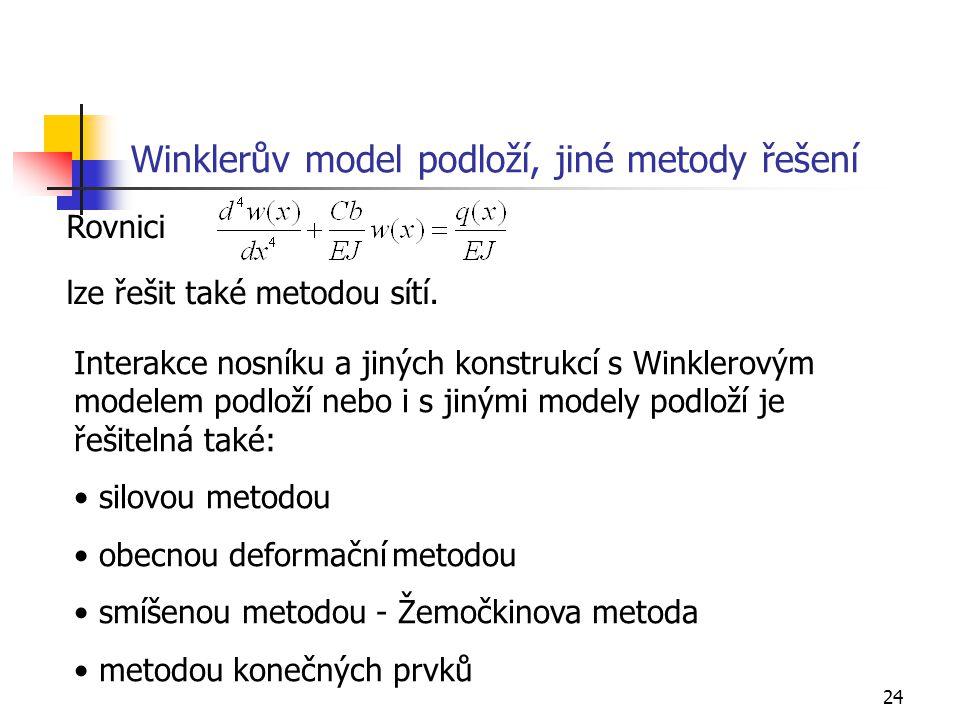 Winklerův model podloží, jiné metody řešení