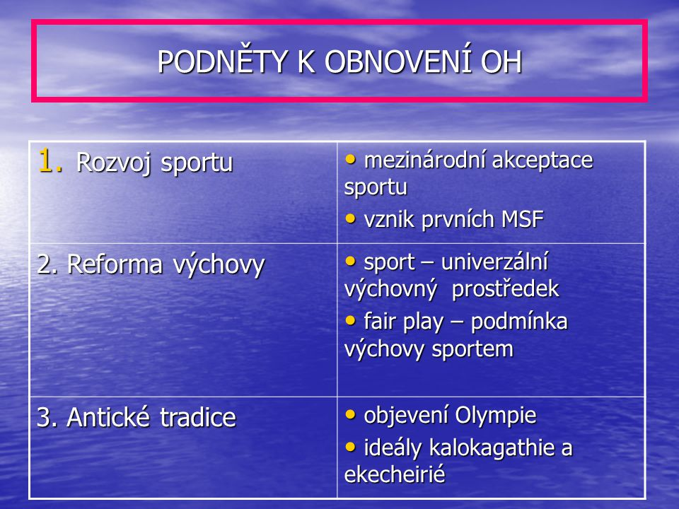 PODNĚTY K OBNOVENÍ OH Rozvoj sportu 2. Reforma výchovy