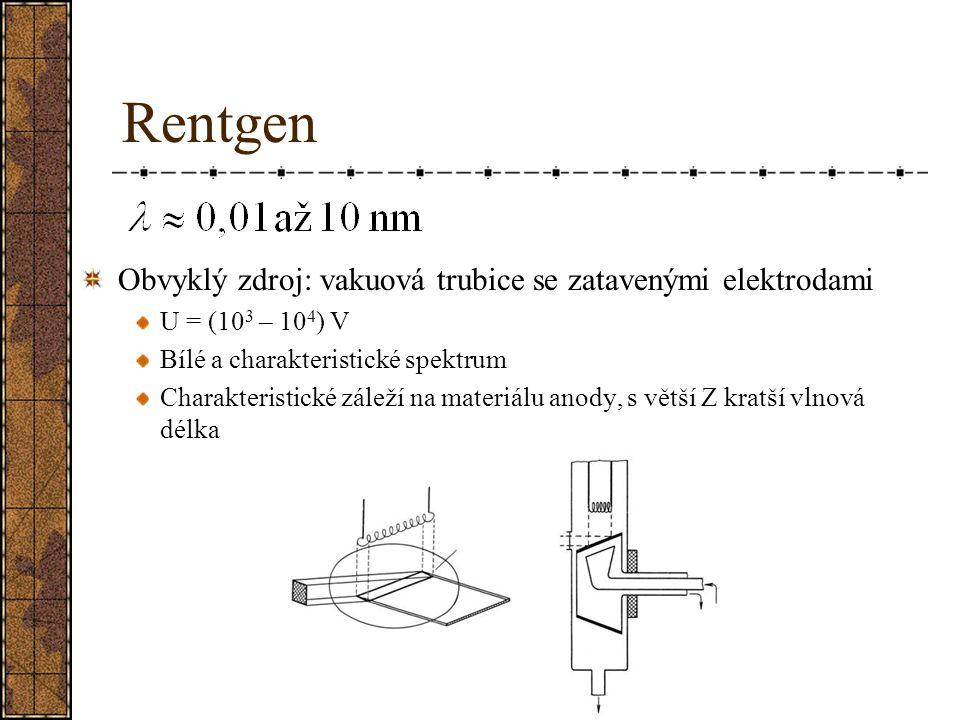 Rentgen Obvyklý zdroj: vakuová trubice se zatavenými elektrodami