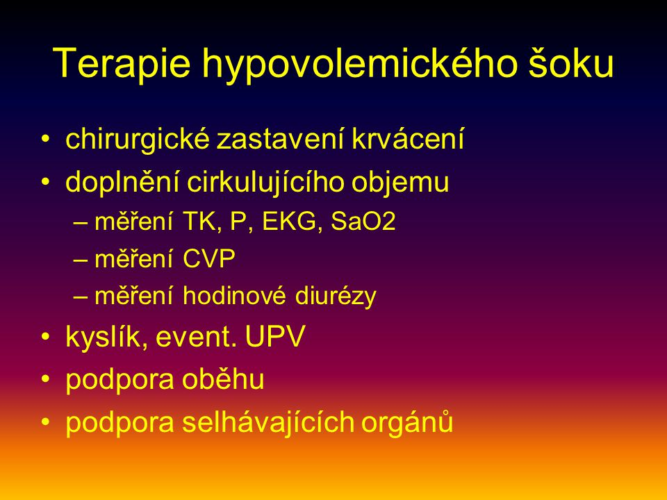 Terapie hypovolemického šoku