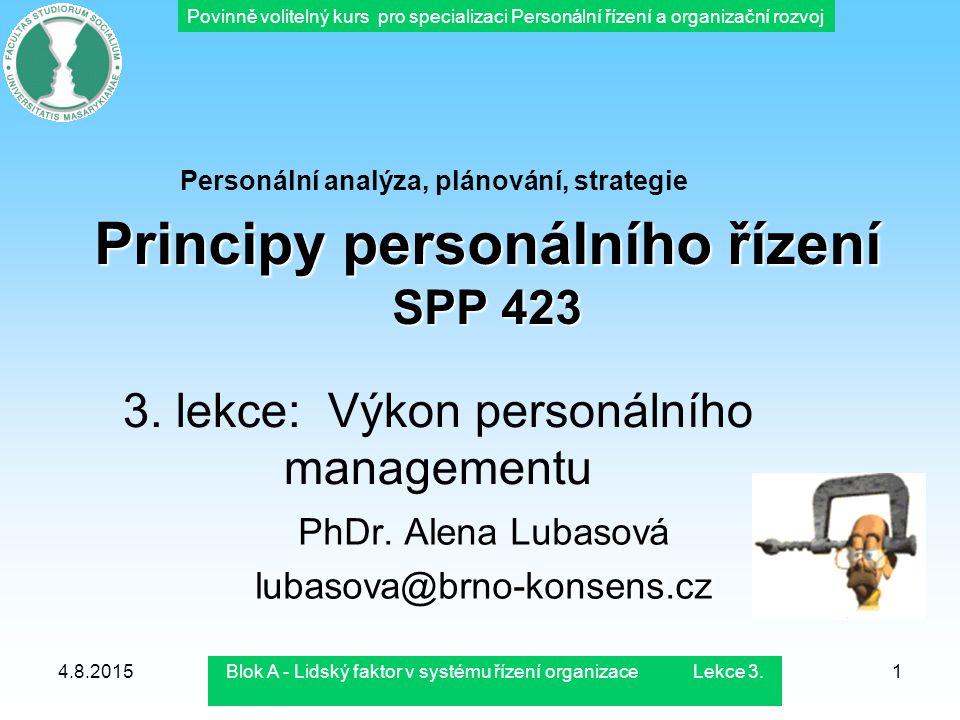 Principy personálního řízení SPP 423