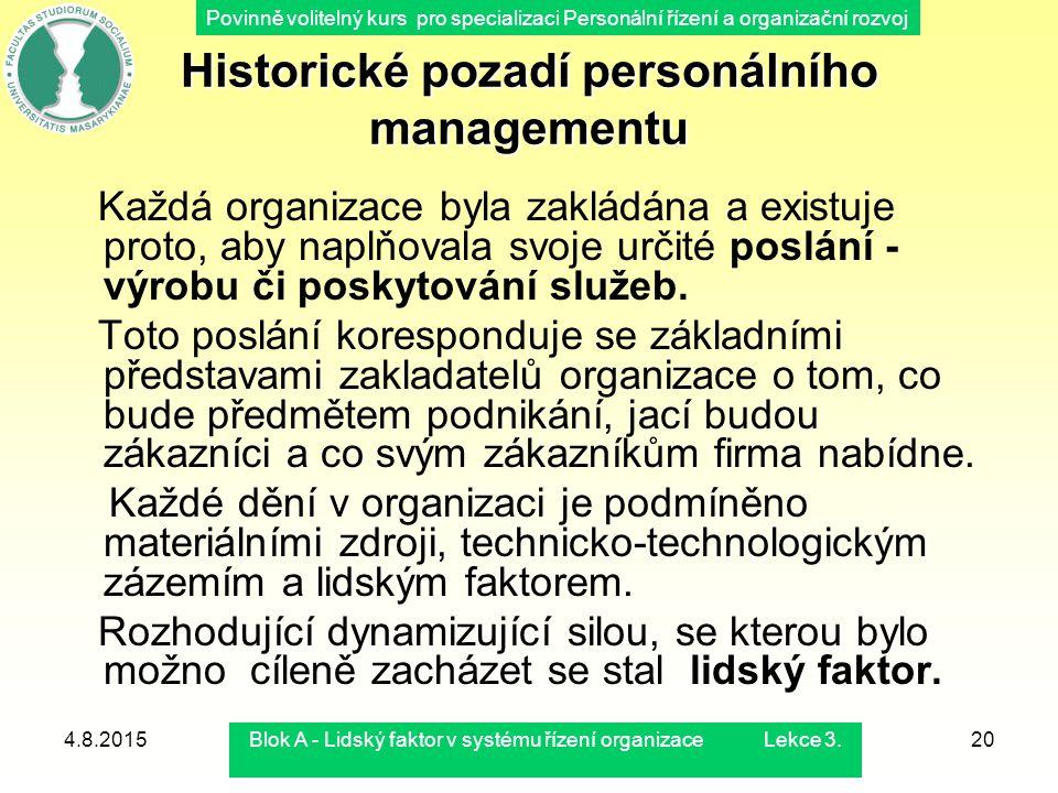 Historické pozadí personálního managementu