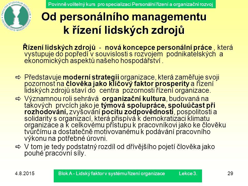 Od personálního managementu k řízení lidských zdrojů