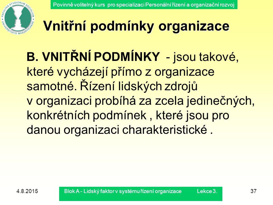 Vnitřní podmínky organizace