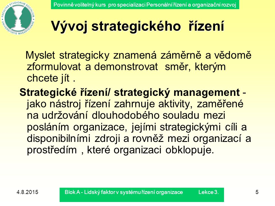 Vývoj strategického řízení