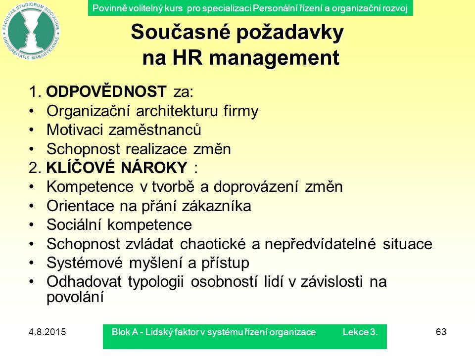 Současné požadavky na HR management
