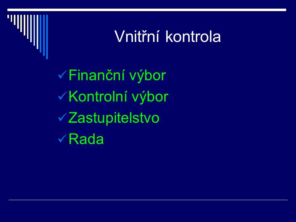 Vnitřní kontrola Finanční výbor Kontrolní výbor Zastupitelstvo Rada