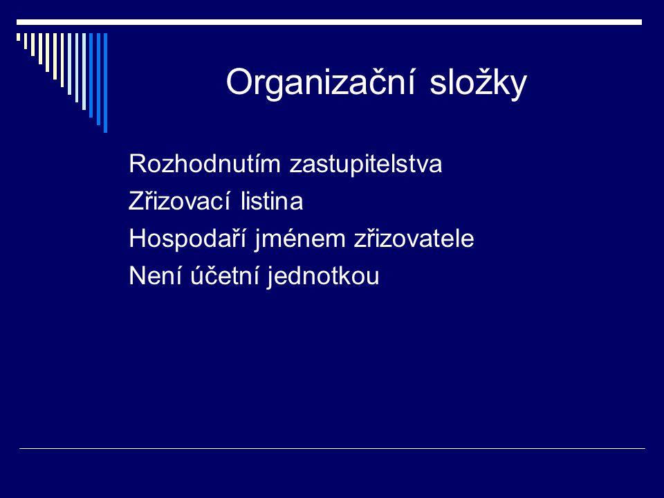 Organizační složky Rozhodnutím zastupitelstva Zřizovací listina