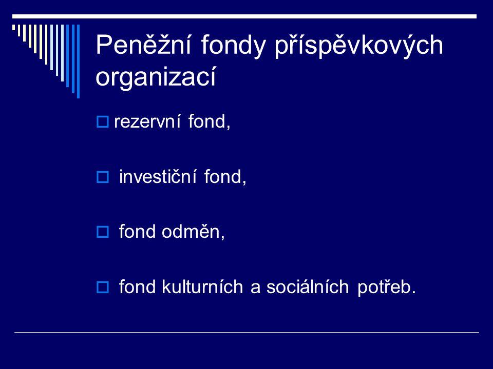 Peněžní fondy příspěvkových organizací