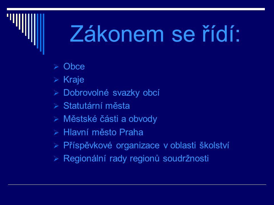 Zákonem se řídí: Obce Kraje Dobrovolné svazky obcí Statutární města