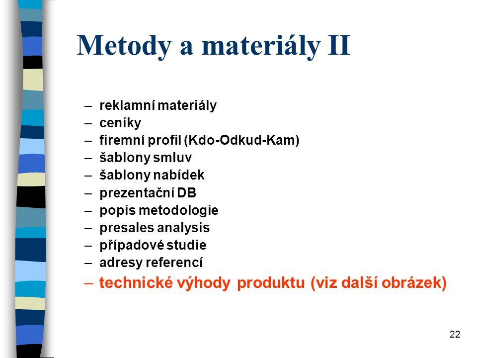 Metody a materiály II technické výhody produktu (viz další obrázek)