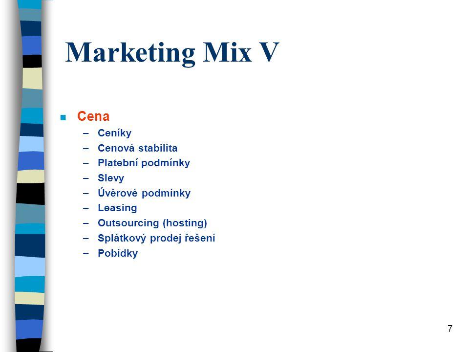 Marketing Mix V Cena Ceníky Cenová stabilita Platební podmínky Slevy