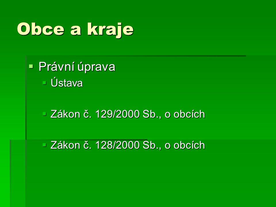Obce a kraje Právní úprava Ústava Zákon č. 129/2000 Sb., o obcích