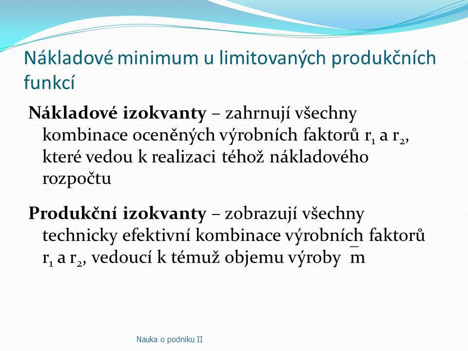 Nákladové minimum u limitovaných produkčních funkcí