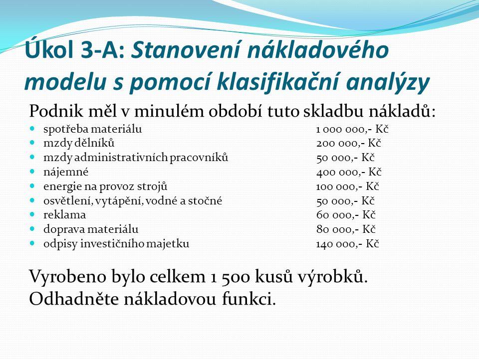 Úkol 3-A: Stanovení nákladového modelu s pomocí klasifikační analýzy