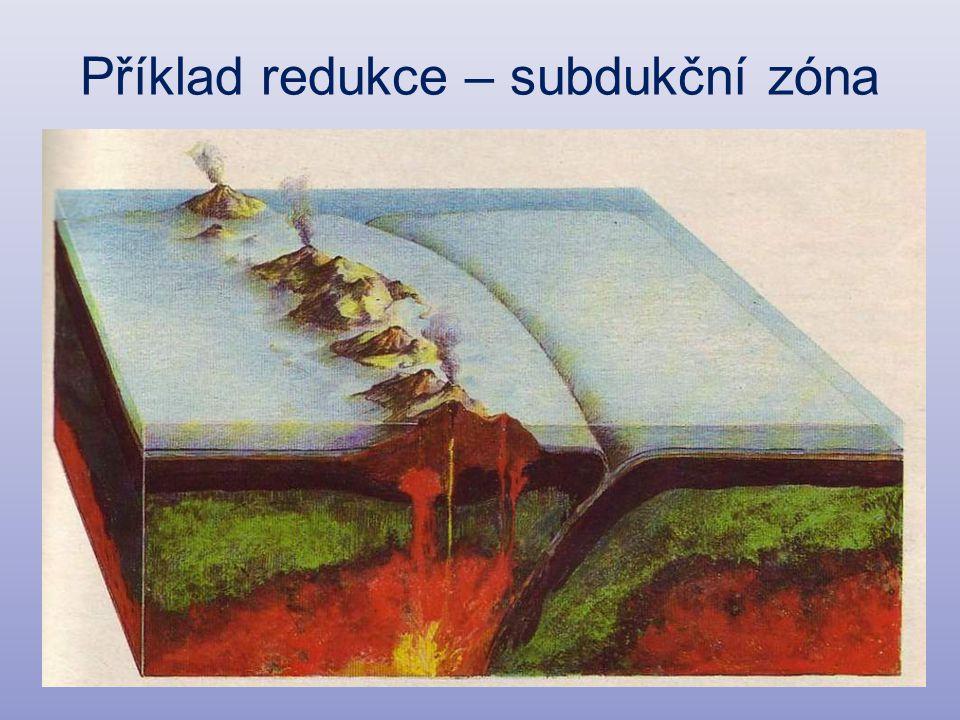 Příklad redukce – subdukční zóna