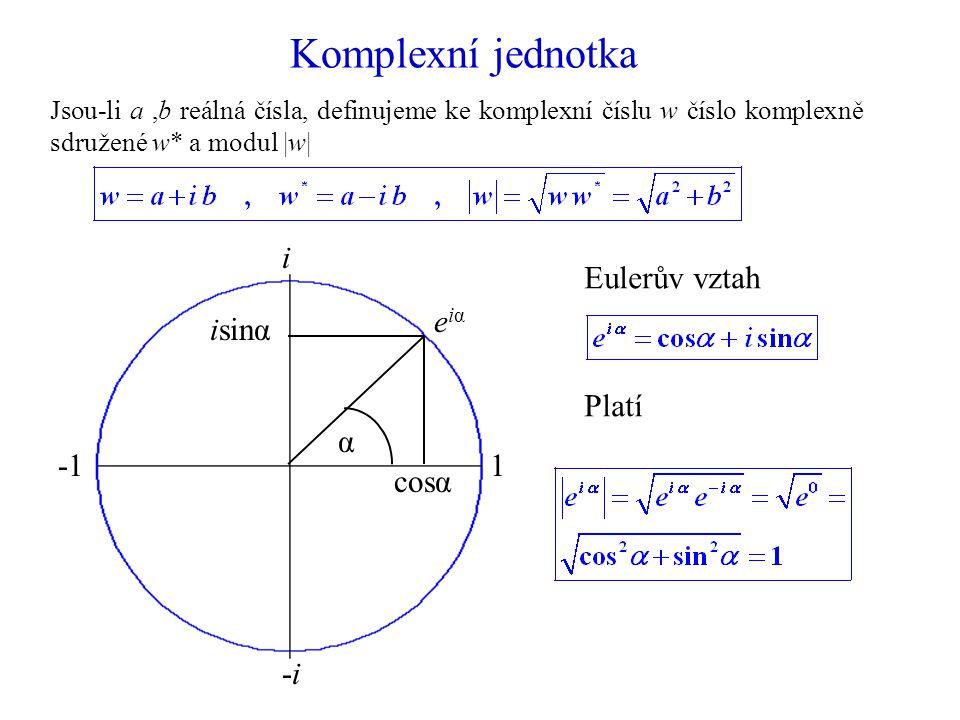 Komplexní jednotka 1 i -1 -i cosα isinα α eiα Eulerův vztah Platí