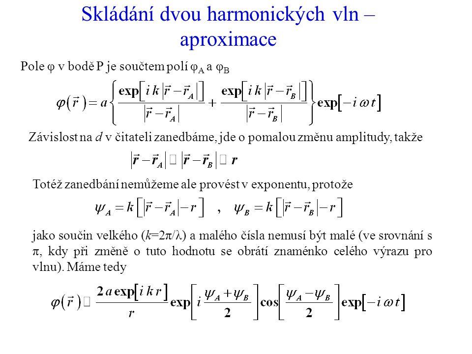 Skládání dvou harmonických vln – aproximace