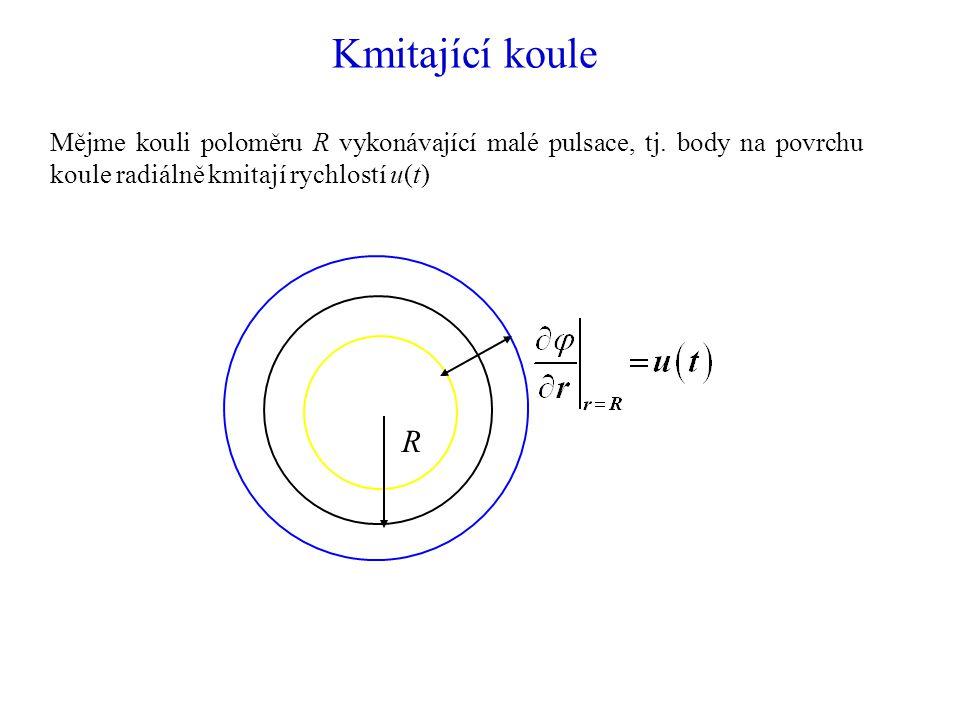 Kmitající koule Mějme kouli poloměru R vykonávající malé pulsace, tj. body na povrchu koule radiálně kmitají rychlostí u(t)
