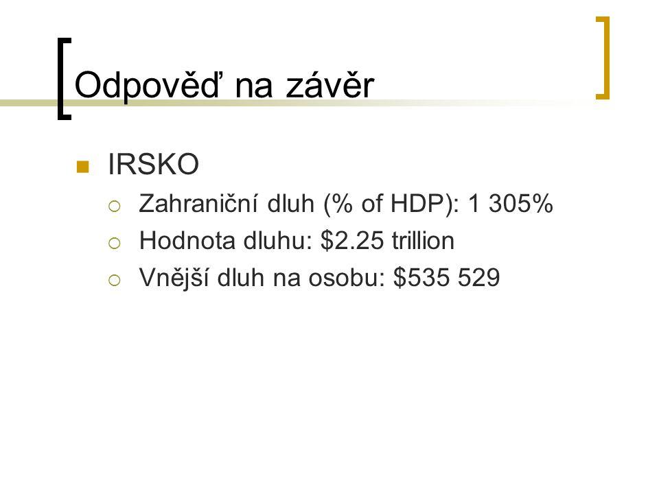 Odpověď na závěr IRSKO Zahraniční dluh (% of HDP): 1 305%