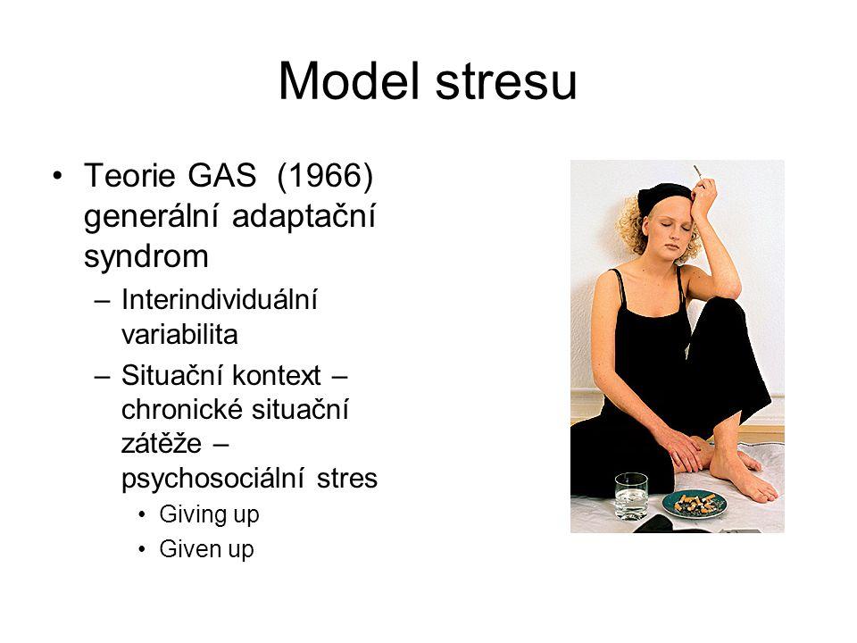 Model stresu Teorie GAS (1966) generální adaptační syndrom