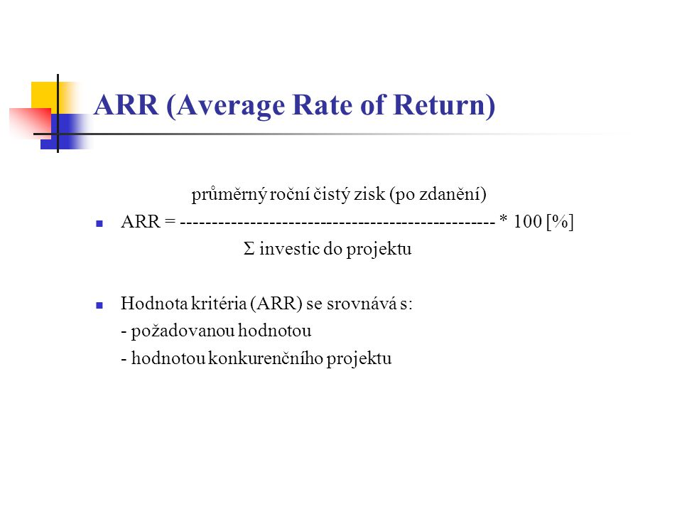 ARR (Average Rate of Return)