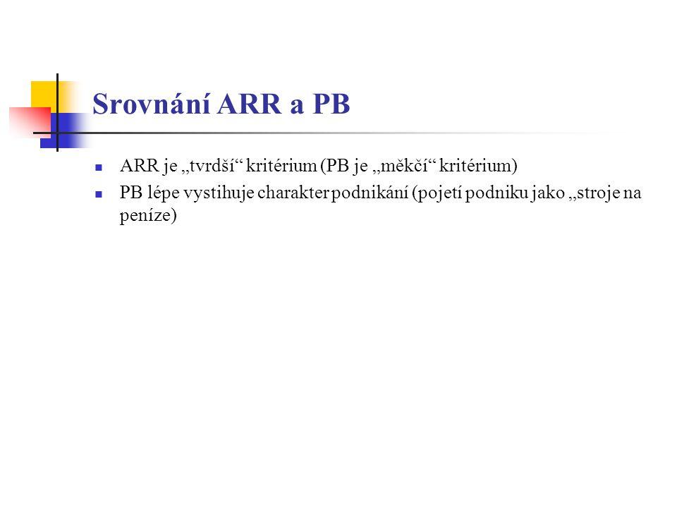 """Srovnání ARR a PB ARR je """"tvrdší kritérium (PB je """"měkčí kritérium)"""