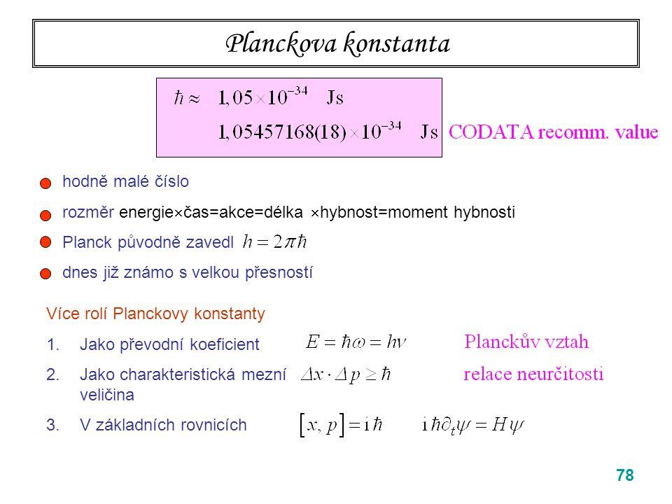 Planckova konstanta hodně malé číslo
