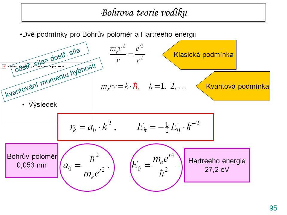 Bohrova teorie vodíku Dvě podmínky pro Bohrův poloměr a Hartreeho energii. Klasická podmínka. odstř. síla= dostř. síla.