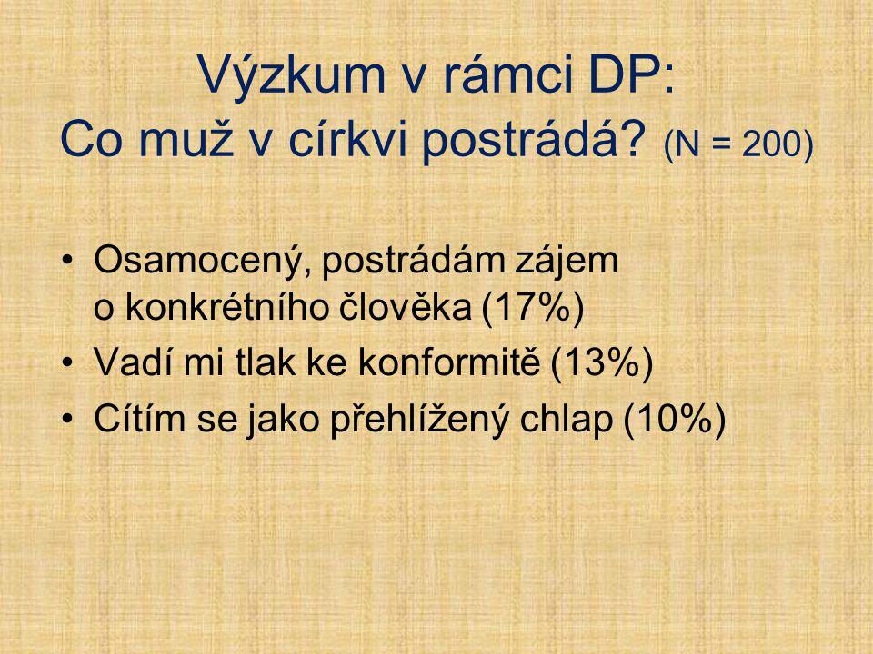 Výzkum v rámci DP: Co muž v církvi postrádá (N = 200)