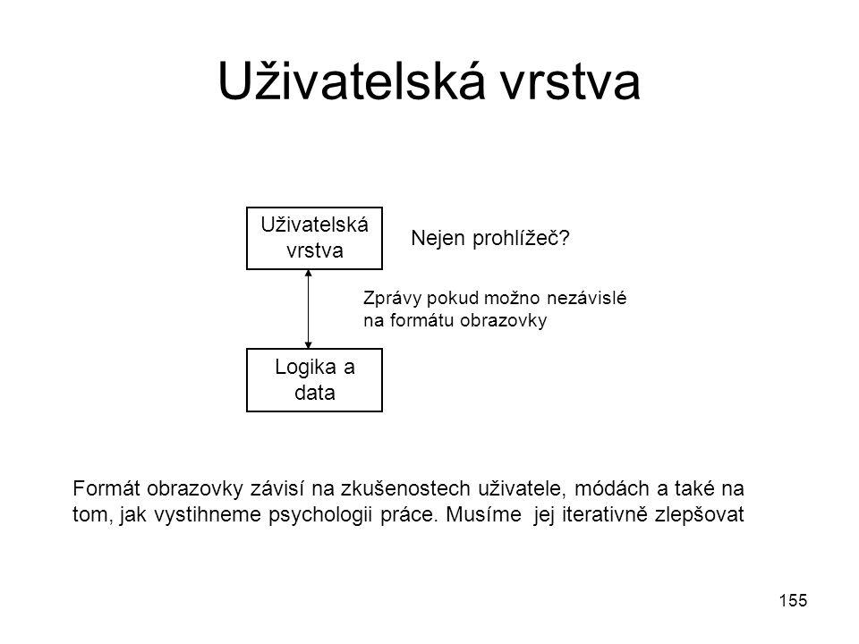 Uživatelská vrstva Uživatelská vrstva Nejen prohlížeč Logika a data