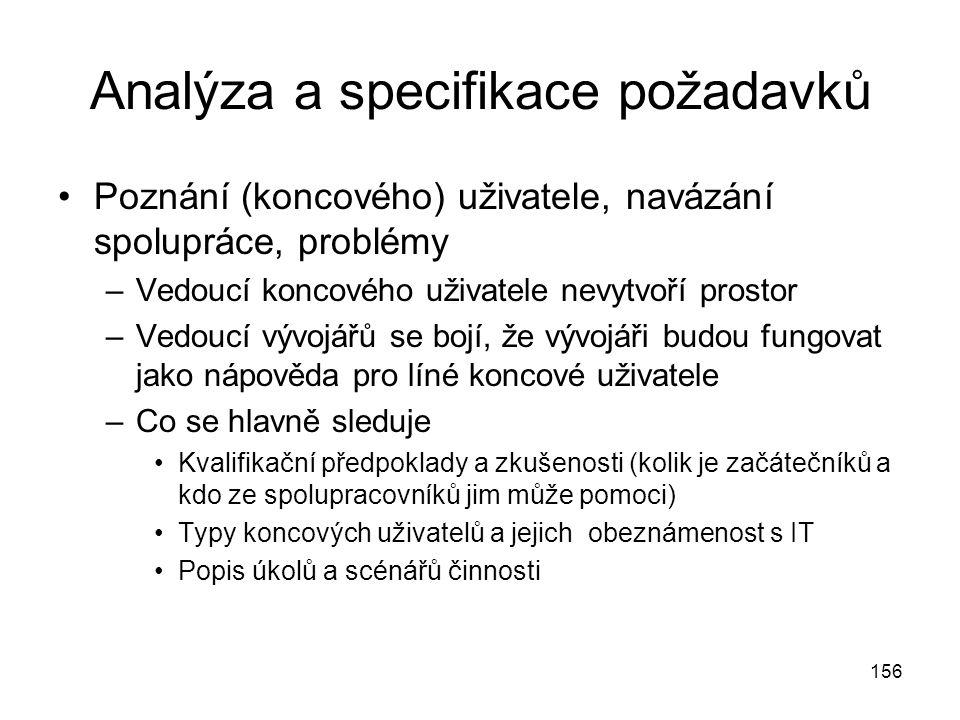 Analýza a specifikace požadavků
