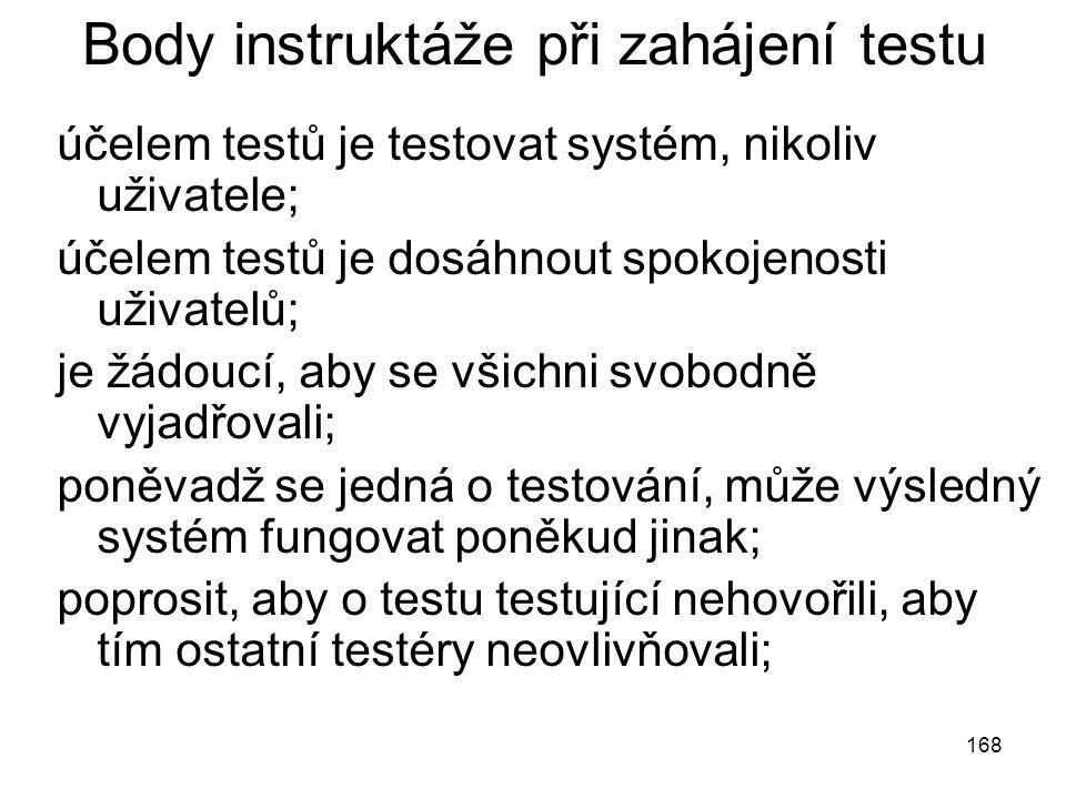 Body instruktáže při zahájení testu