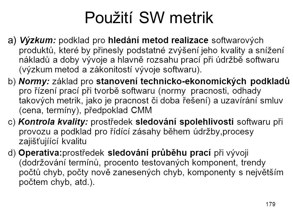 Použití SW metrik