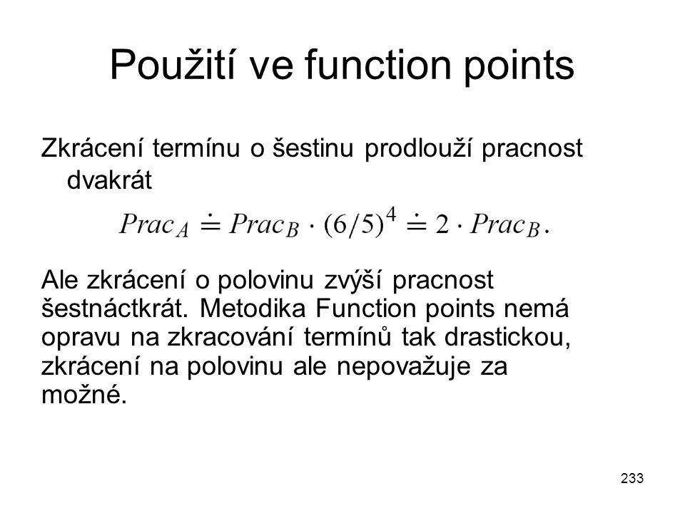 Použití ve function points